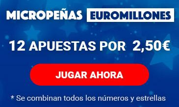 Micropeñas del euromillones. Juega 12 apuestas por 2,50 euros.
